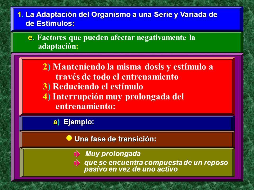 2) Manteniendo la misma dosis y estímulo a través de todo el entrenamiento 3) Reduciendo el estímulo 4) Interrupción muy prolongada del entrenamiento: