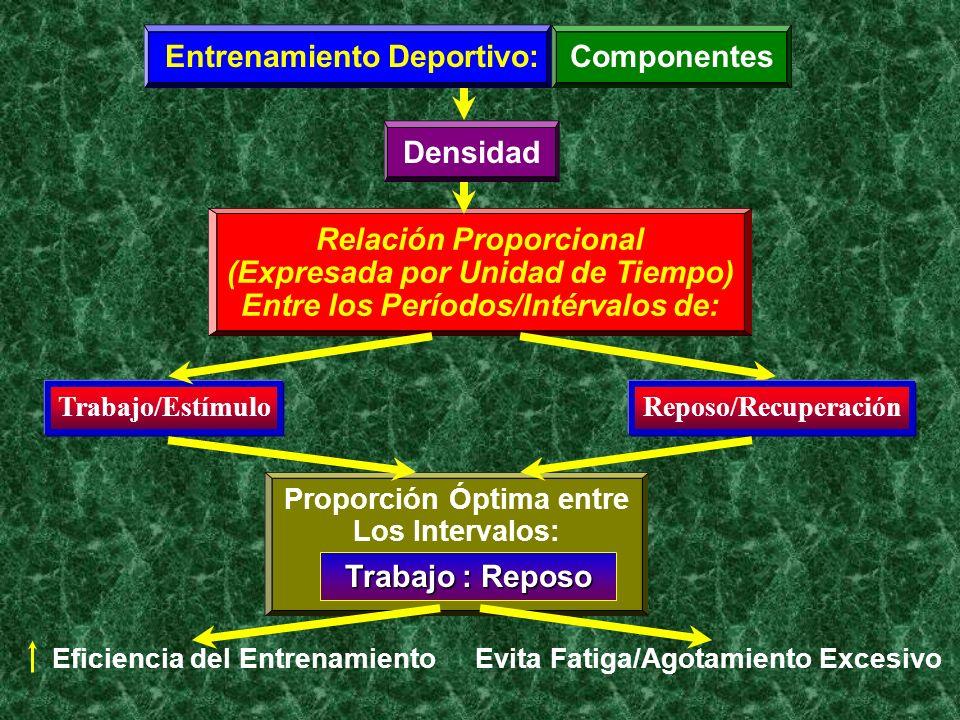 Entrenamiento Deportivo:Componentes Densidad Relación Proporcional (Expresada por Unidad de Tiempo) Entre los Períodos/Intérvalos de: Trabajo/Estímulo