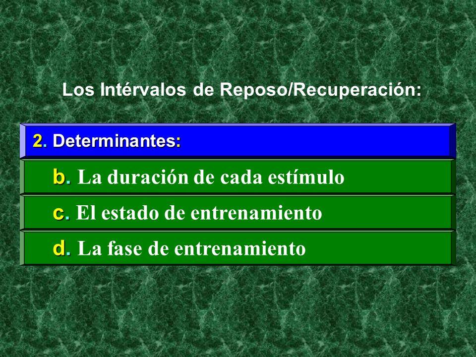 2. Determinantes: b. b. La duración de cada estímulo Los Intérvalos de Reposo/Recuperación: c. c. El estado de entrenamiento d. d. La fase de entrenam
