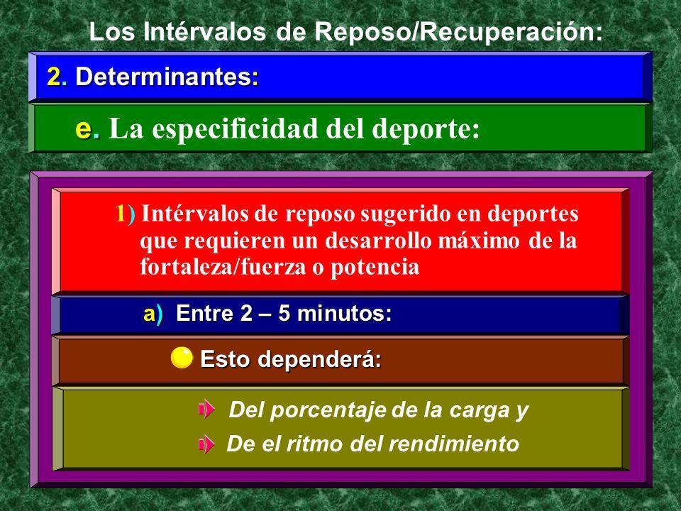 2. Determinantes: e. e. La especificidad del deporte: Los Intérvalos de Reposo/Recuperación: 1) Intérvalos de reposo sugerido en deportes que requiere