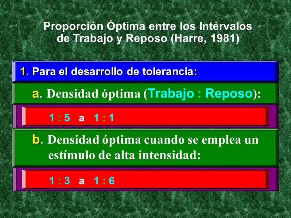 1. Para el desarrollo de tolerancia: a. a. Densidad óptima ( Trabajo : Reposo ): Proporción Óptima entre los Intérvalos de Trabajo y Reposo (Harre, 19
