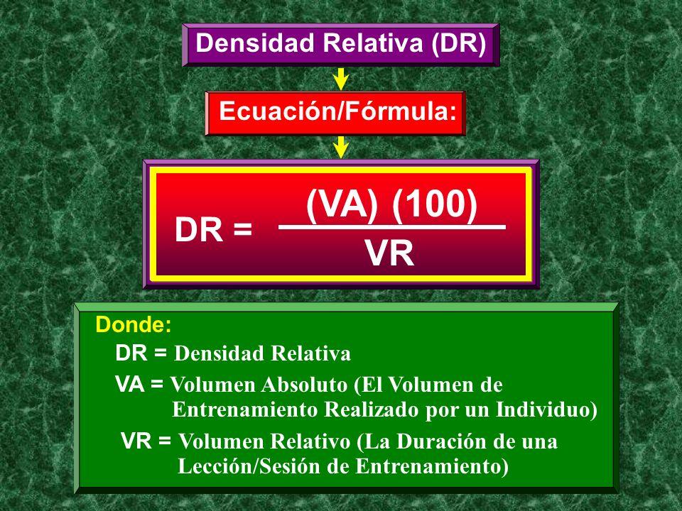 Densidad Relativa (DR) Ecuación/Fórmula: DR = (VA) (100) VR Donde: DR = Densidad Relativa VA = Volumen Absoluto (El Volumen de Entrenamiento Realizado
