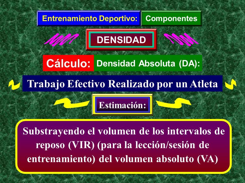 Densidad Absoluta (DA): Substrayendo el volumen de los intervalos de reposo (VIR) (para la lección/sesión de entrenamiento) del volumen absoluto (VA)