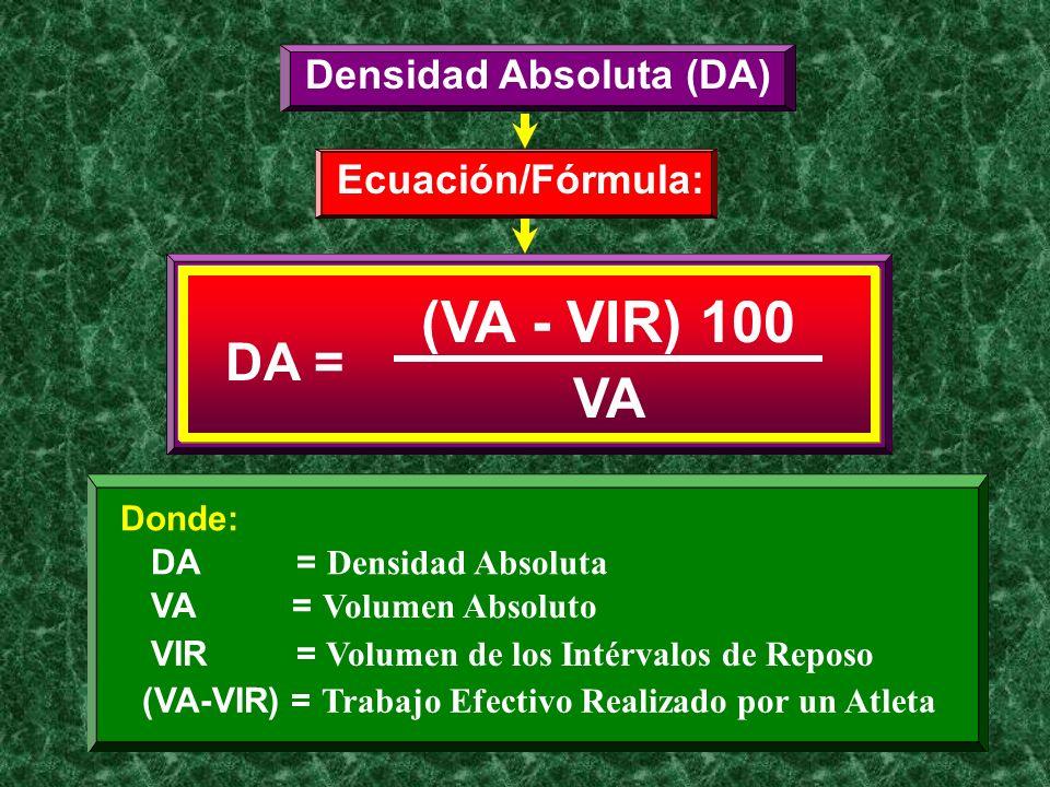 Densidad Absoluta (DA) Ecuación/Fórmula: DA = (VA - VIR) 100 VA Donde: DA = Densidad Absoluta VA = Volumen Absoluto (VA-VIR) = Trabajo Efectivo Realiz