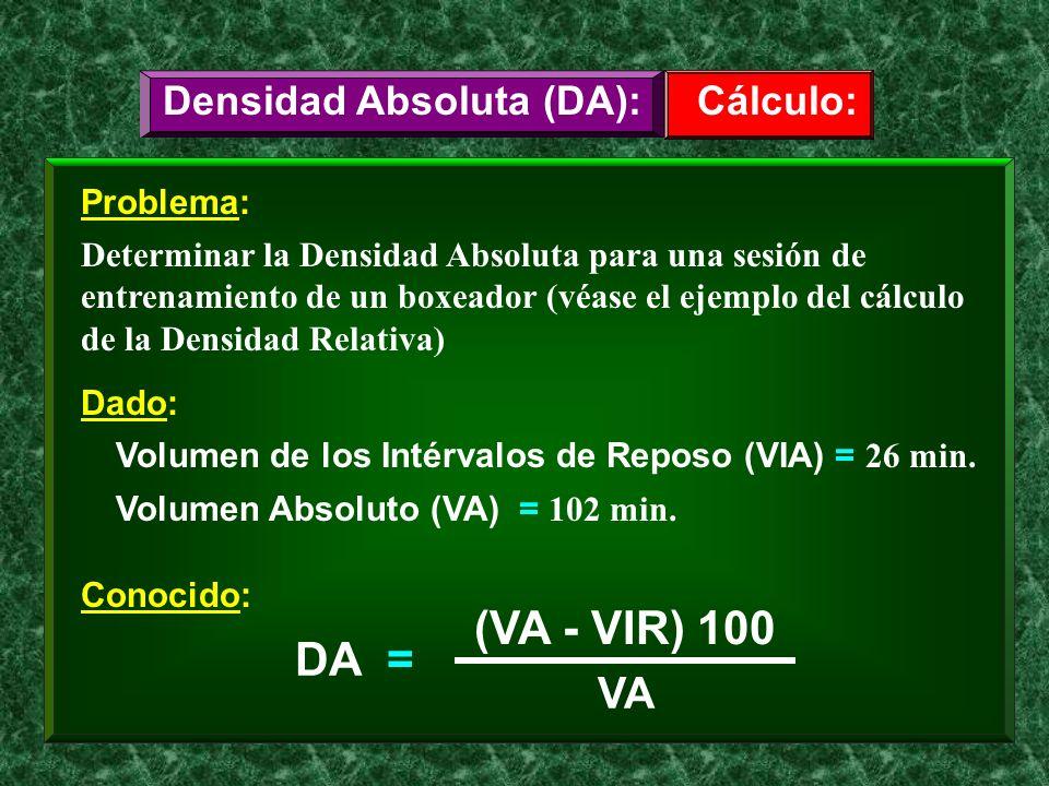 Problema: Determinar la Densidad Absoluta para una sesión de entrenamiento de un boxeador (véase el ejemplo del cálculo de la Densidad Relativa) Cálcu