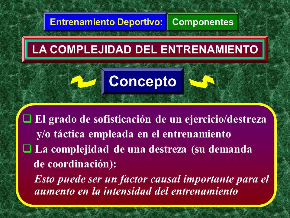 El grado de sofisticación de un ejercicio/destreza y/o táctica empleada en el entrenamiento La complejidad de una destreza (su demanda de coordinación
