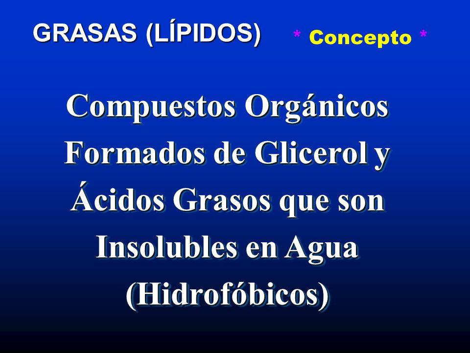 GRASAS (LÍPIDOS) * Concepto * Grupo de Compuestos Orgánicos Relacionados Formados de Glicerol y Ácidos Grasos en Proporción Uno a Tres