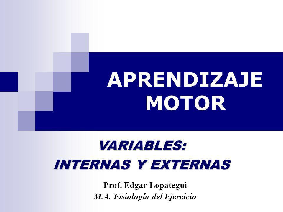 APRENDIZAJE MOTOR Prof. Edgar Lopategui M.A. Fisiología del Ejercicio VARIABLES: INTERNAS Y EXTERNAS