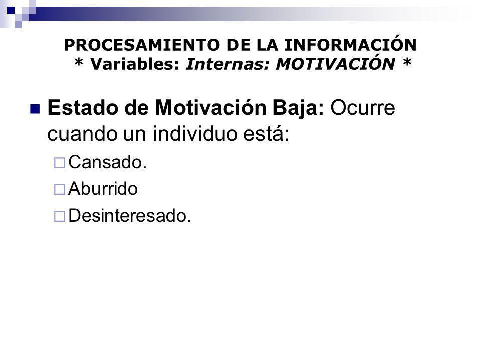 PROCESAMIENTO DE LA INFORMACIÓN * Variables: Internas: MOTIVACIÓN * Estado de Motivación Baja: Ocurre cuando un individuo está: Cansado. Aburrido Desi