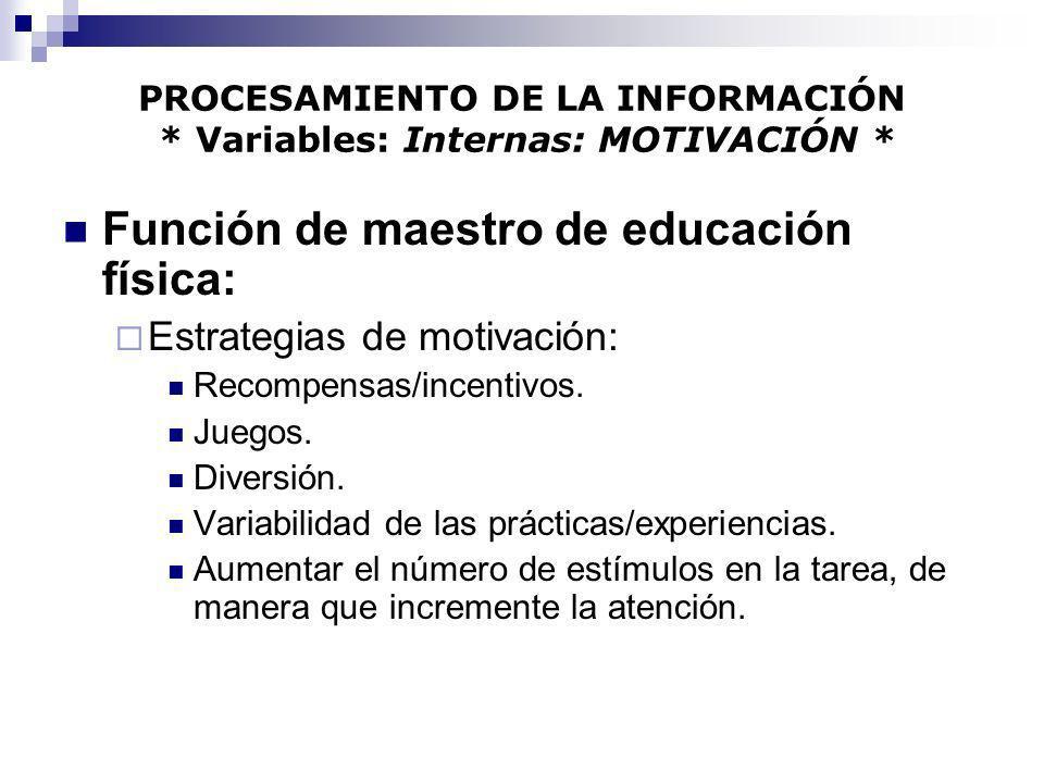 PROCESAMIENTO DE LA INFORMACIÓN * Variables: Internas: MOTIVACIÓN * Función de maestro de educación física: Estrategias de motivación: Recompensas/inc