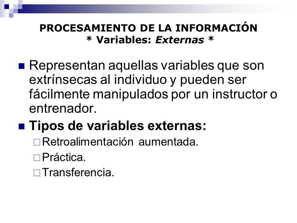 PROCESAMIENTO DE LA INFORMACIÓN * Variables: Externas * Representan aquellas variables que son extrínsecas al individuo y pueden ser fácilmente manipu