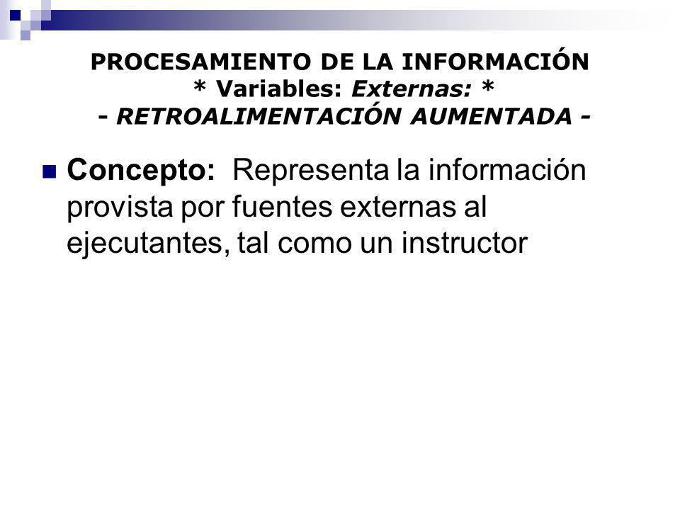 PROCESAMIENTO DE LA INFORMACIÓN * Variables: Externas: * - RETROALIMENTACIÓN AUMENTADA - Concepto: Representa la información provista por fuentes exte