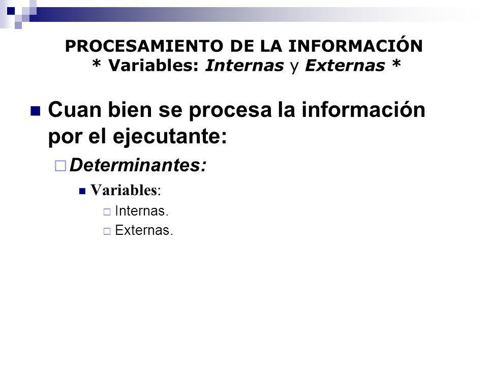 PROCESAMIENTO DE LA INFORMACIÓN * Variables: Internas y Externas * Cuan bien se procesa la información por el ejecutante: Determinantes: Variables: In