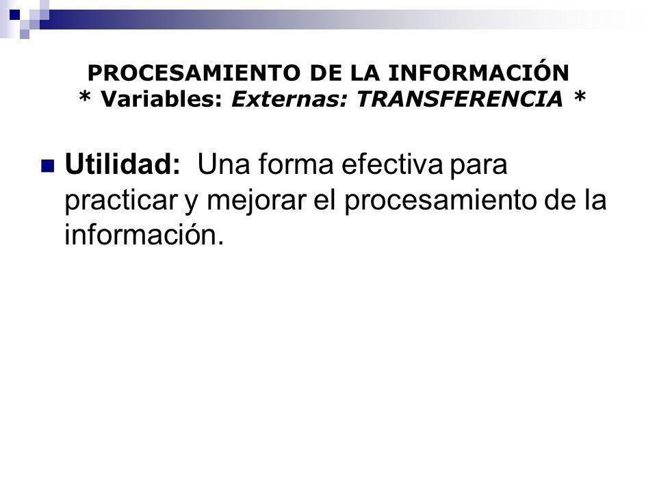 PROCESAMIENTO DE LA INFORMACIÓN * Variables: Externas: TRANSFERENCIA * Utilidad: Una forma efectiva para practicar y mejorar el procesamiento de la in