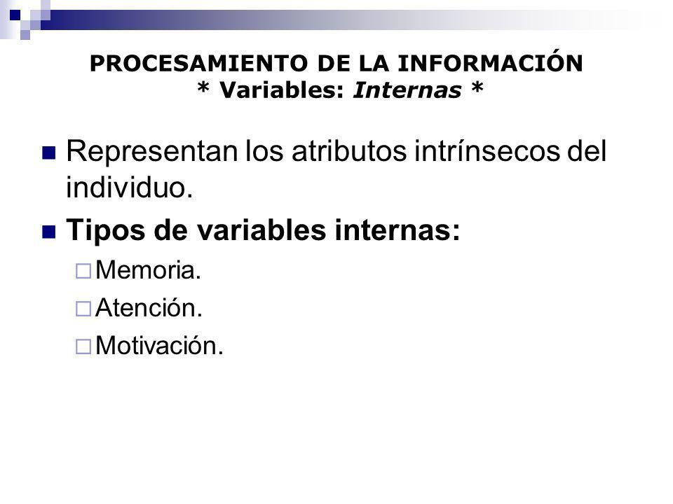 PROCESAMIENTO DE LA INFORMACIÓN * Variables: Internas * Representan los atributos intrínsecos del individuo. Tipos de variables internas: Memoria. Ate