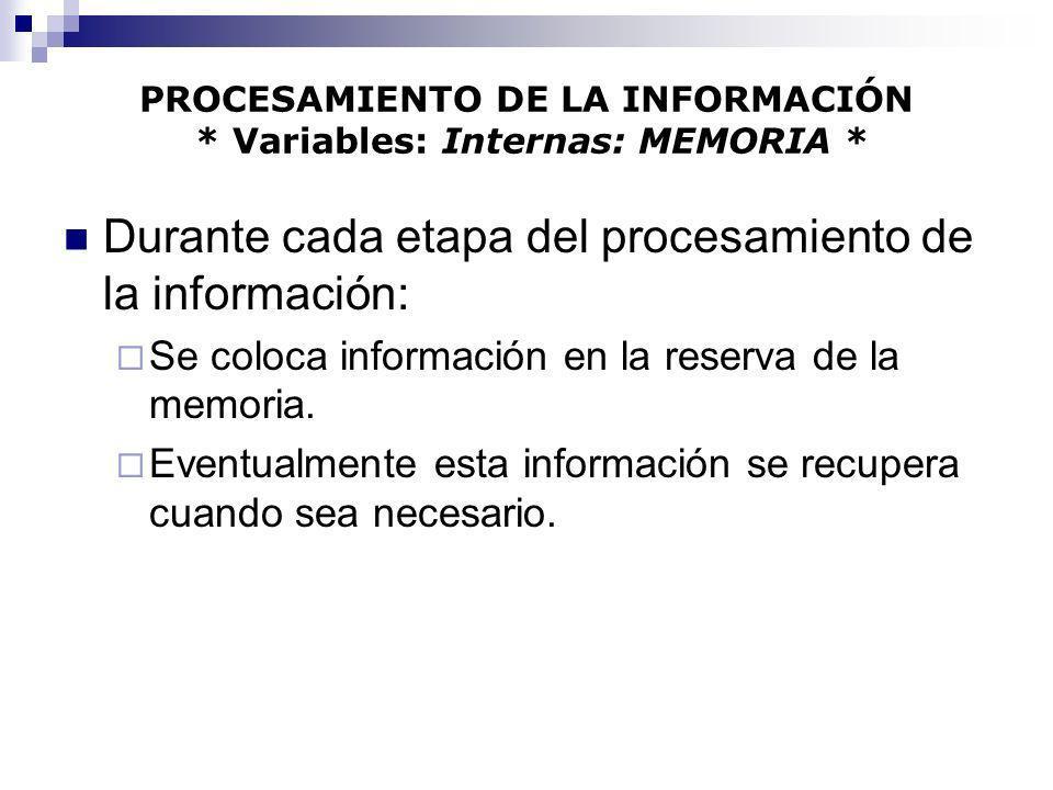 PROCESAMIENTO DE LA INFORMACIÓN * Variables: Internas: MEMORIA * Durante cada etapa del procesamiento de la información: Se coloca información en la r