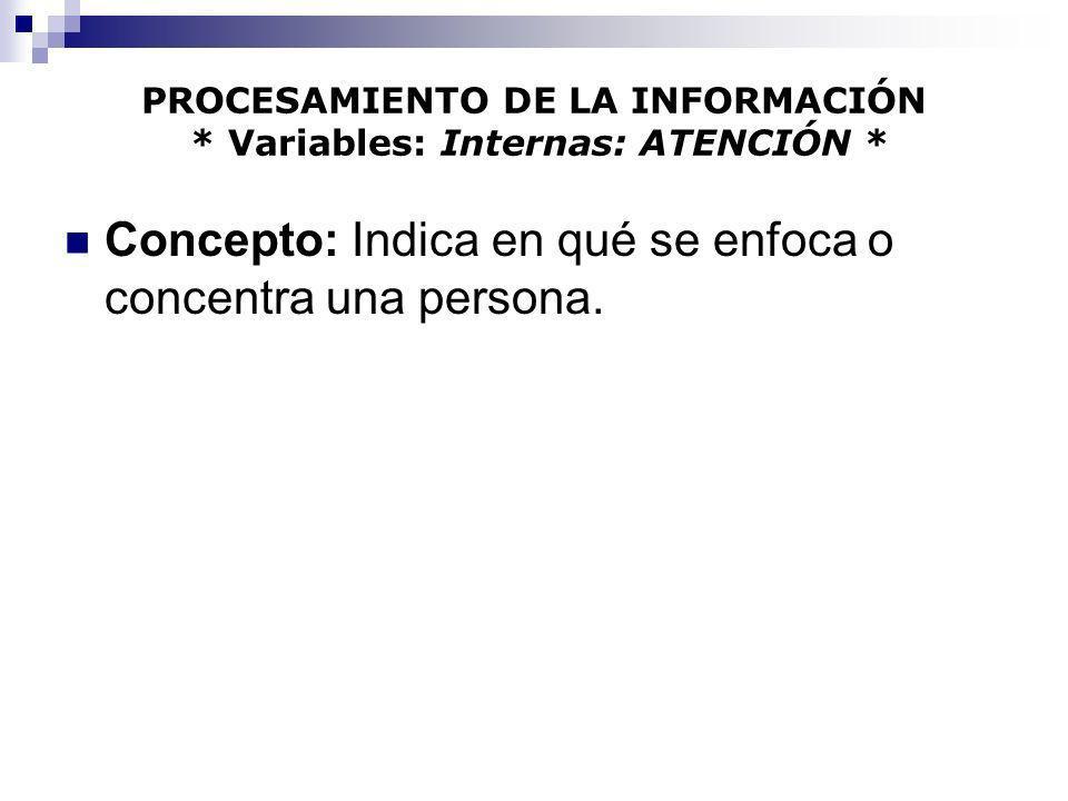 PROCESAMIENTO DE LA INFORMACIÓN * Variables: Internas: ATENCIÓN * Concepto: Indica en qué se enfoca o concentra una persona.