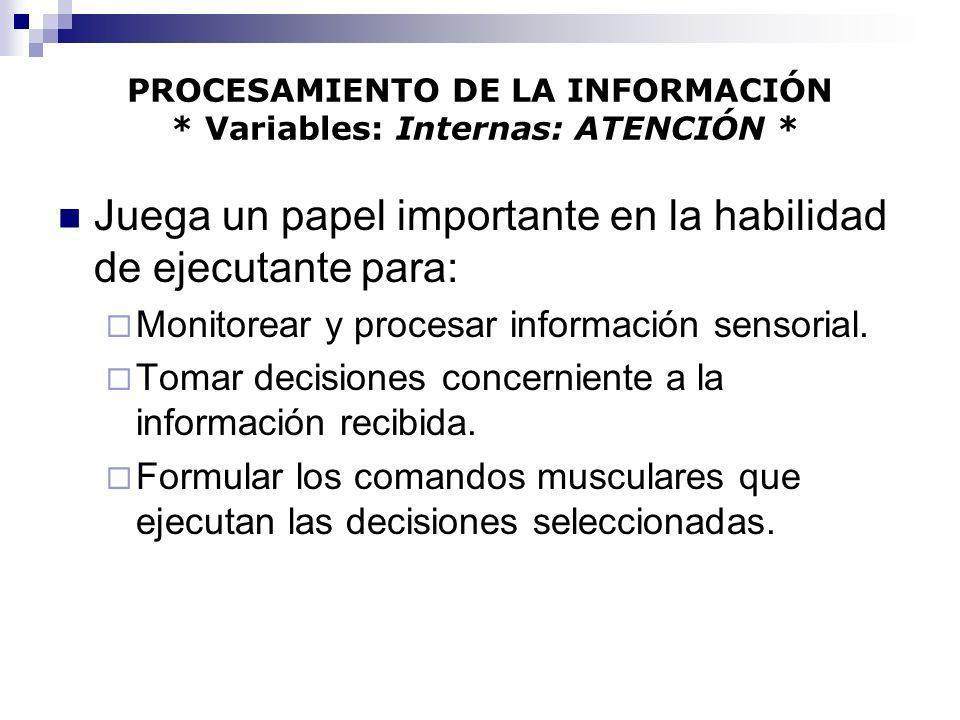 PROCESAMIENTO DE LA INFORMACIÓN * Variables: Internas: ATENCIÓN * Juega un papel importante en la habilidad de ejecutante para: Monitorear y procesar