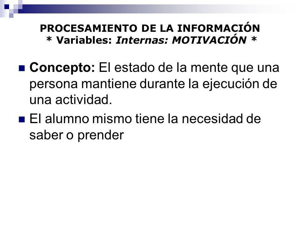 PROCESAMIENTO DE LA INFORMACIÓN * Variables: Internas: MOTIVACIÓN * Estado de Motivación Baja: Ocurre cuando un individuo está: Cansado.