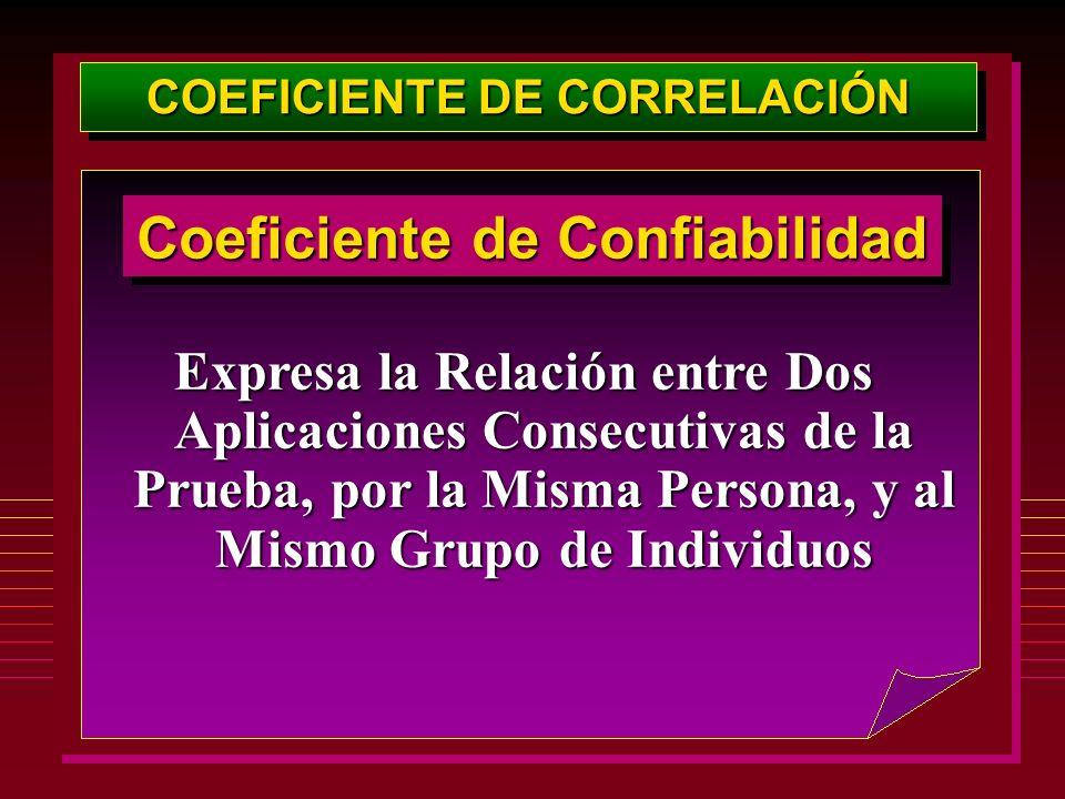 COEFICIENTE DE CORRELACIÓN Coeficiente de Confiabilidad Expresa la Relación entre Dos Aplicaciones Consecutivas de la Prueba, por la Misma Persona, y