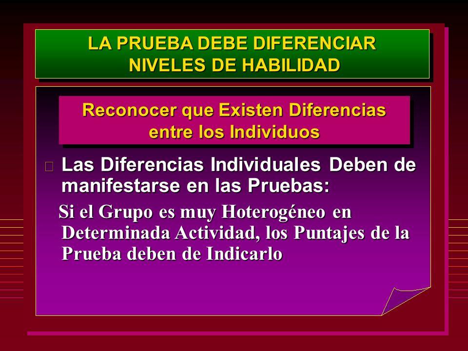 LA PRUEBA DEBE DIFERENCIAR NIVELES DE HABILIDAD NIVELES DE HABILIDAD LA PRUEBA DEBE DIFERENCIAR NIVELES DE HABILIDAD NIVELES DE HABILIDAD Reconocer qu