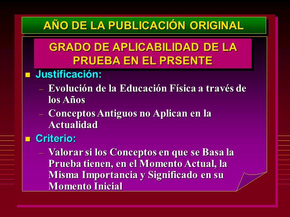 AÑO DE LA PUBLICACIÓN ORIGINAL GRADO DE APLICABILIDAD DE LA PRUEBA EN EL PRSENTE Justificación: Justificación: – Evolución de la Educación Física a tr