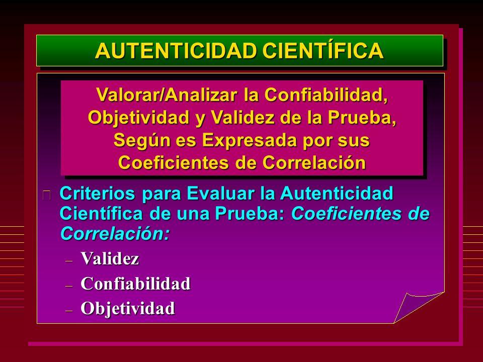 AUTENTICIDAD CIENTÍFICA Valorar/Analizar la Confiabilidad, Objetividad y Validez de la Prueba, Según es Expresada por sus Coeficientes de Correlación