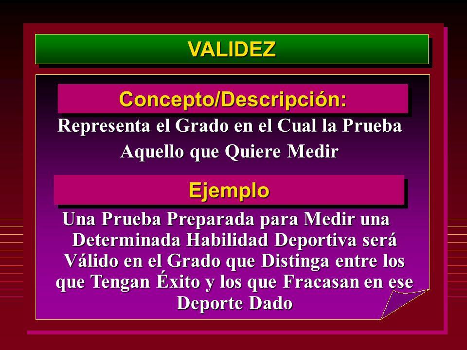 VALIDEZVALIDEZ Concepto/Descripción:Concepto/Descripción: Representa el Grado en el Cual la Prueba Aquello que Quiere Medir EjemploEjemplo Una Prueba