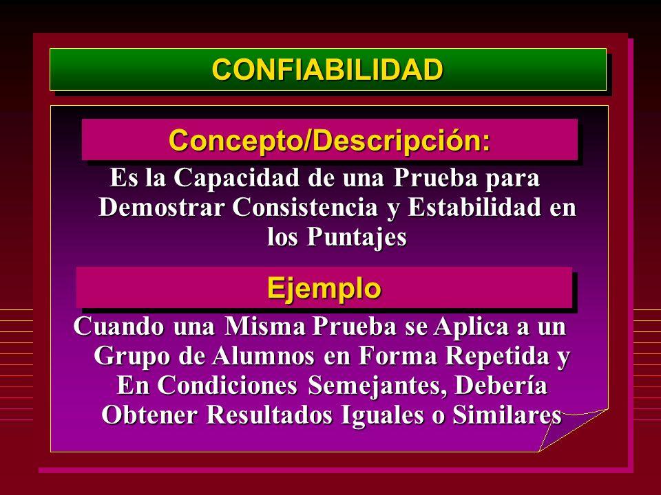 CONFIABILIDADCONFIABILIDAD Concepto/Descripción:Concepto/Descripción: Es la Capacidad de una Prueba para Demostrar Consistencia y Estabilidad en los P