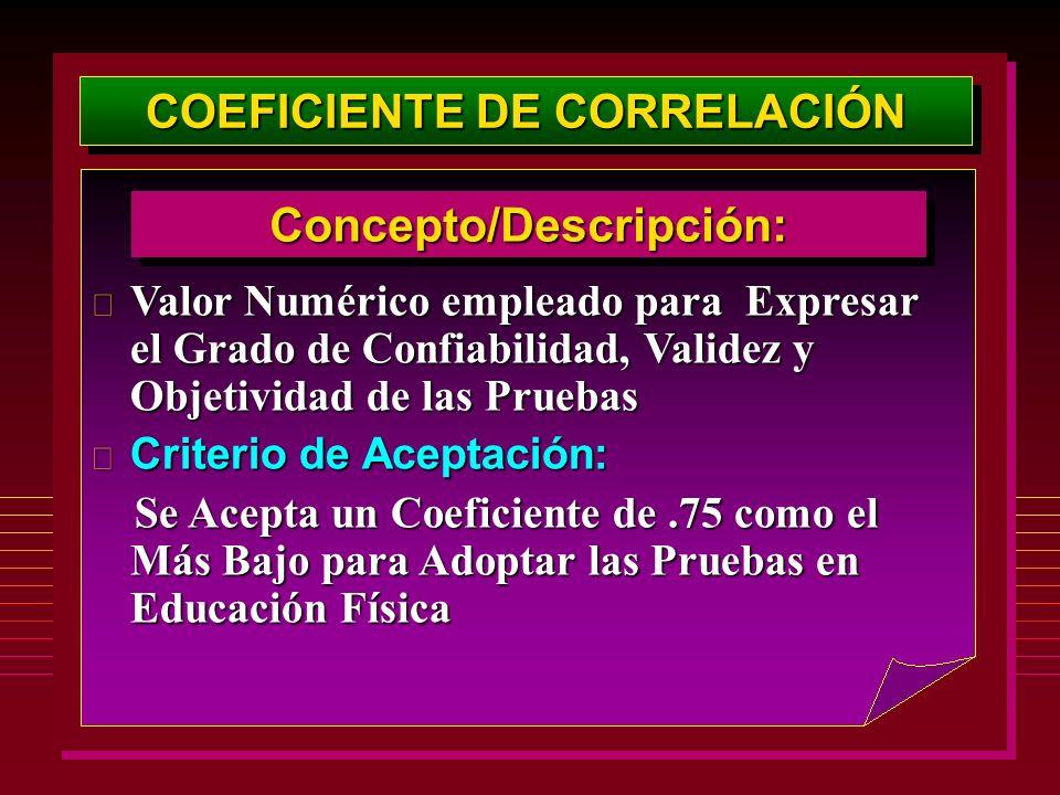 COEFICIENTE DE CORRELACIÓN Concepto/Descripción:Concepto/Descripción: Valor Numérico empleado para Expresar el Grado de Confiabilidad, Validez y Objet