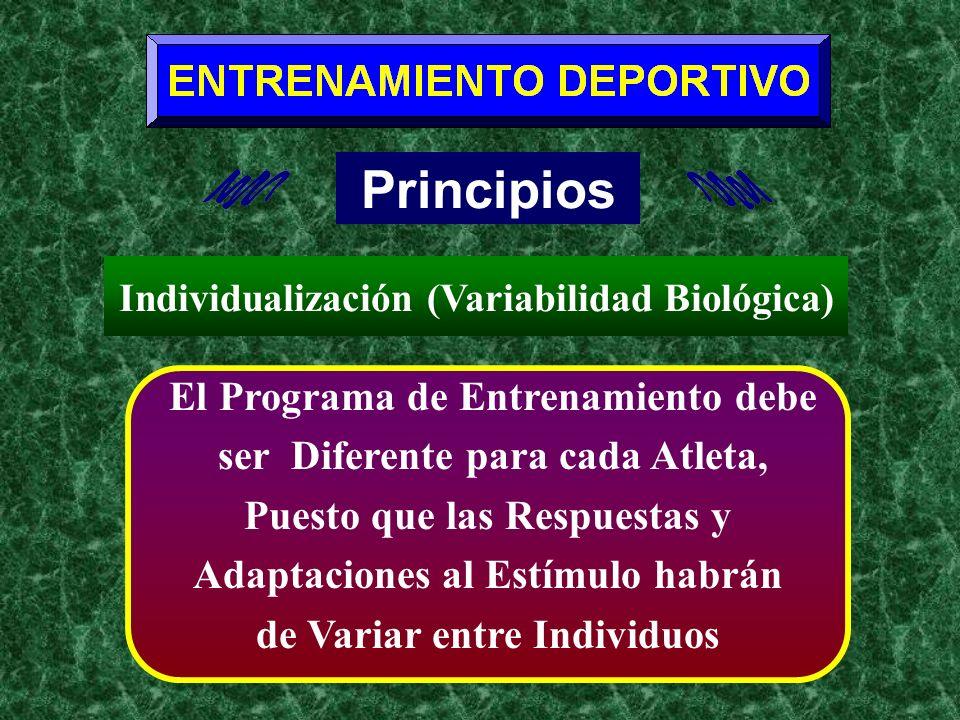 Principios El Programa de Entrenamiento debe ser Diferente para cada Atleta, Puesto que las Respuestas y Adaptaciones al Estímulo habrán de Variar ent