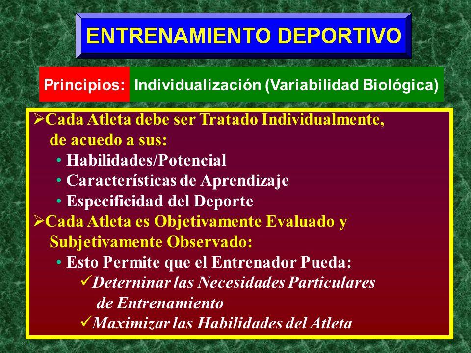 Cada Atleta debe ser Tratado Individualmente, de acuedo a sus: Habilidades/Potencial Características de Aprendizaje Especificidad del Deporte Cada Atl