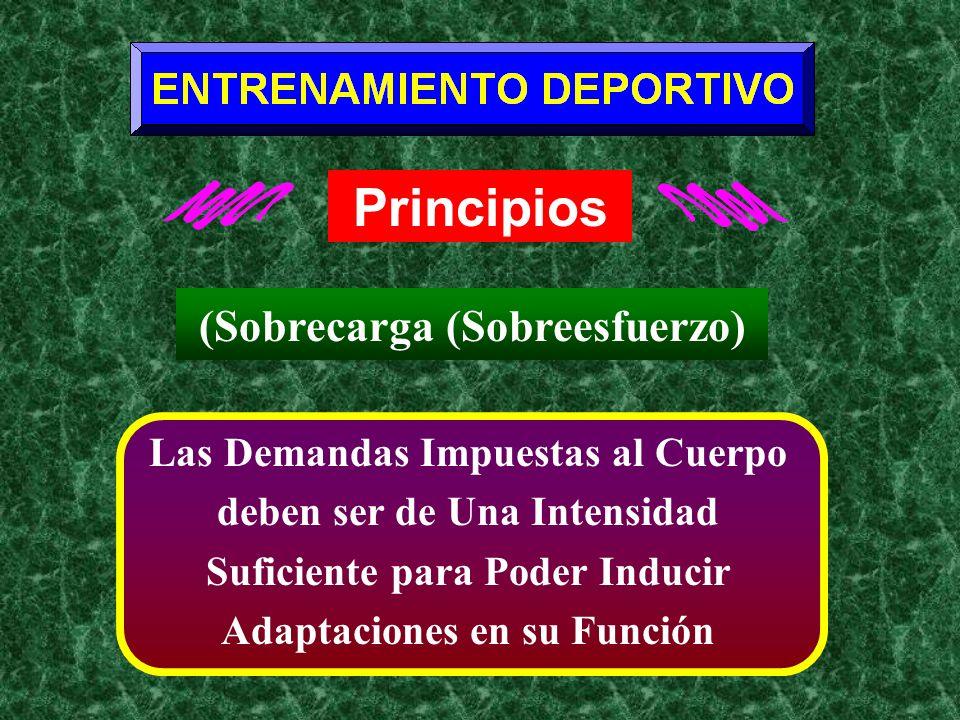 Principios Las Demandas Impuestas al Cuerpo deben ser de Una Intensidad Suficiente para Poder Inducir Adaptaciones en su Función (Sobrecarga (Sobreesf