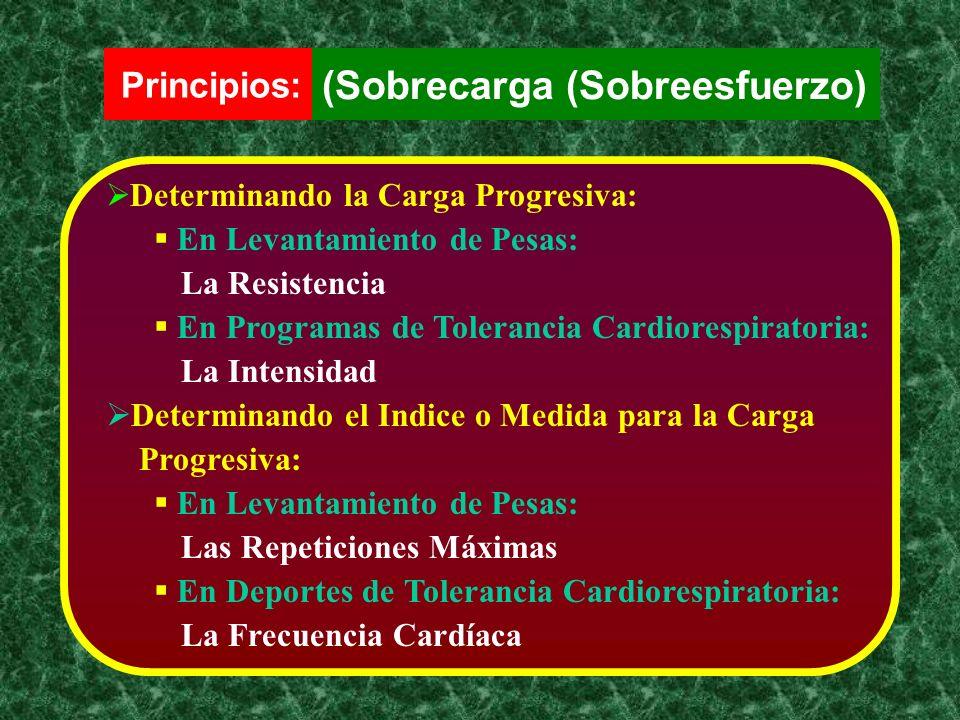 Determinando la Carga Progresiva: En Levantamiento de Pesas: La Resistencia En Programas de Tolerancia Cardiorespiratoria: La Intensidad Determinando