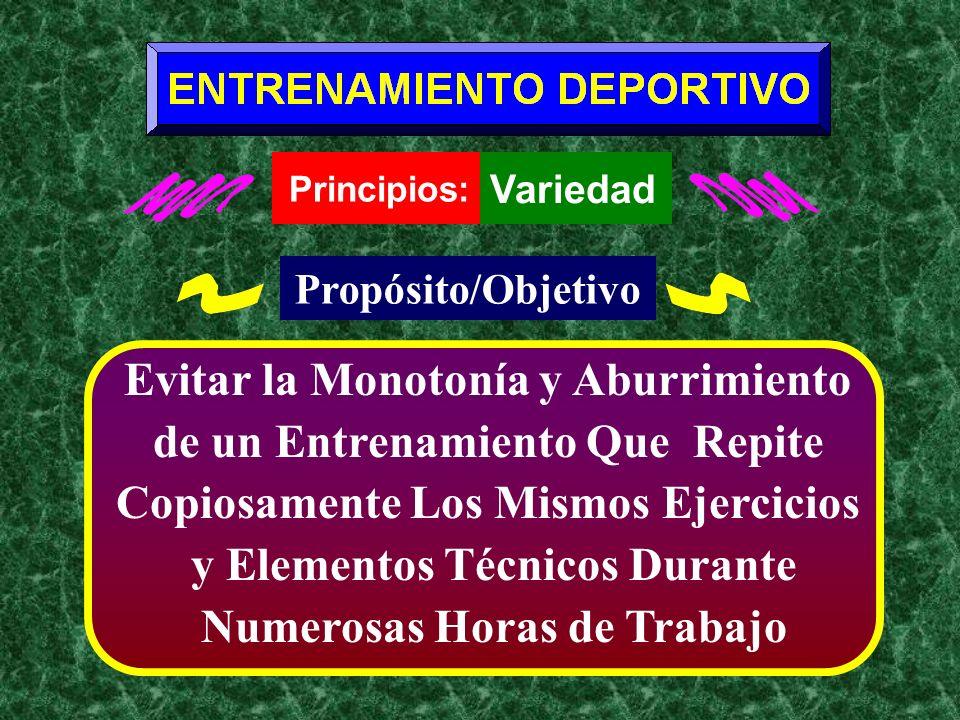 Principios: Variedad Propósito/Objetivo Evitar la Monotonía y Aburrimiento de un Entrenamiento Que Repite Copiosamente Los Mismos Ejercicios y Element