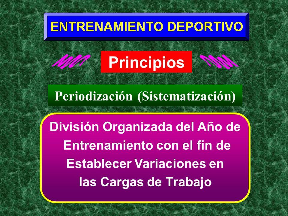 Principios División Organizada del Año de Entrenamiento con el fin de Establecer Variaciones en las Cargas de Trabajo Periodización (Sistematización)