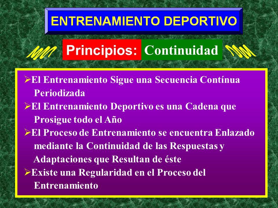 El Entrenamiento Sigue una Secuencia Contínua Periodizada El Entrenamiento Deportivo es una Cadena que Prosigue todo el Año El Proceso de Entrenamient