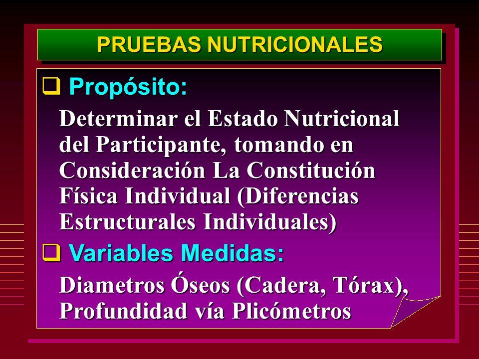 PRUEBAS NUTRICIONALES Propósito: Propósito: Determinar el Estado Nutricional del Participante, tomando en Consideración La Constitución Física Individ