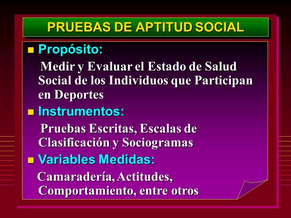 PRUEBAS DE APTITUD SOCIAL Propósito: Propósito: Medir y Evaluar el Estado de Salud Social de los Individuos que Participan en Deportes Medir y Evaluar
