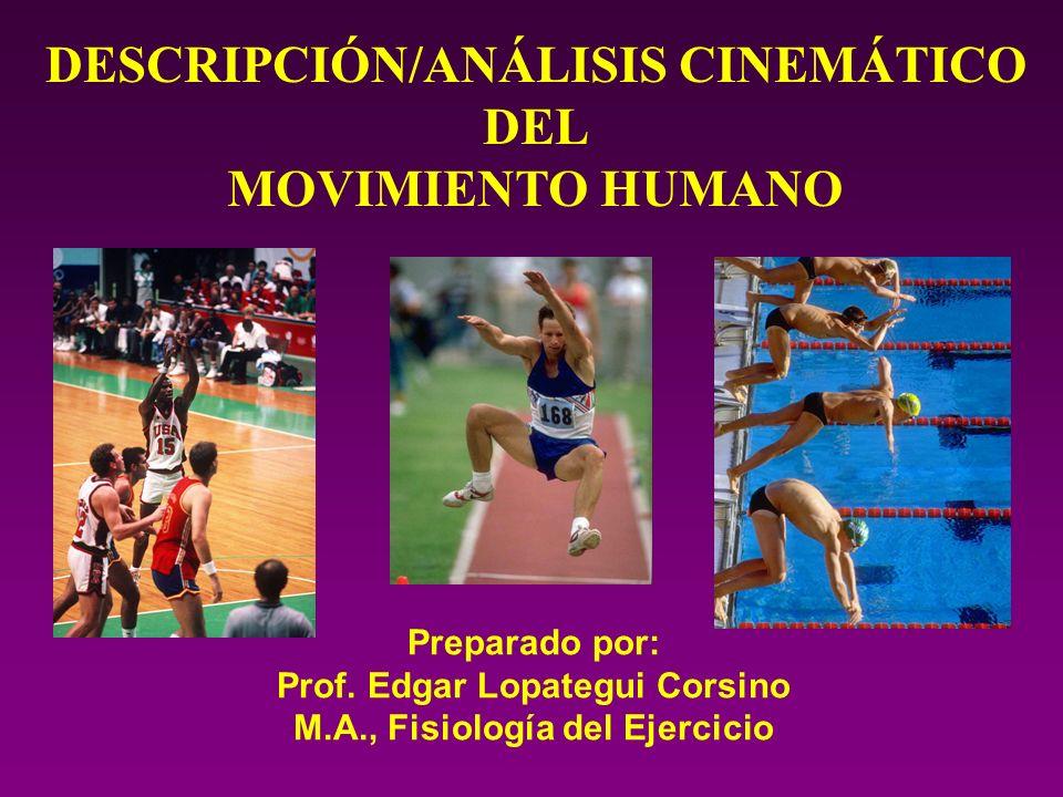DESCRIPCIÓN/ANÁLISIS CINEMÁTICO DEL MOVIMIENTO HUMANO Preparado por: Prof. Edgar Lopategui Corsino M.A., Fisiología del Ejercicio