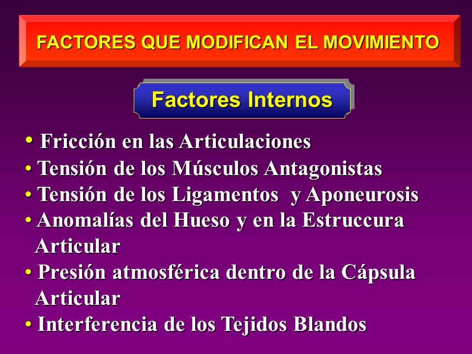 FACTORES QUE MODIFICAN EL MOVIMIENTO Fricción en las Articulaciones Fricción en las Articulaciones Tensión de los Músculos Antagonistas Tensión de los