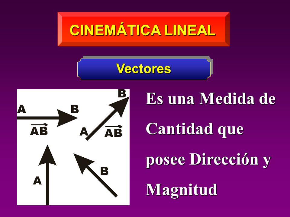 CINEMÁTICA LINEAL Vectores Es una Medida de Cantidad que posee Dirección y Magnitud