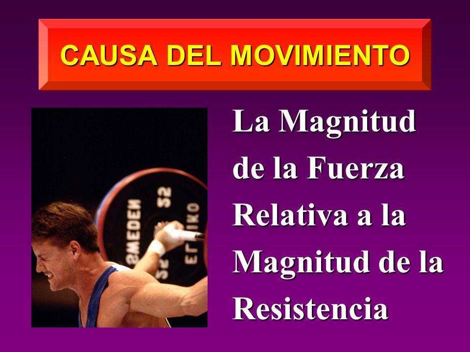 CAUSA DEL MOVIMIENTO La Magnitud de la Fuerza Relativa a la Magnitud de la Resistencia