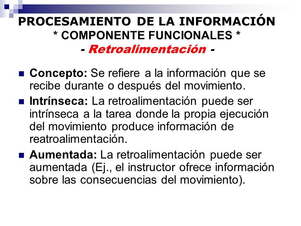 PROCESAMIENTO DE LA INFORMACIÓN * COMPONENTE FUNCIONALES * - Retroalimentación - Concepto: Se refiere a la información que se recibe durante o después