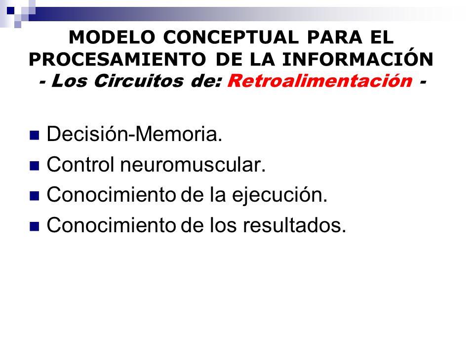 MODELO CONCEPTUAL PARA EL PROCESAMIENTO DE LA INFORMACIÓN - Los Circuitos de: Retroalimentación - Decisión-Memoria. Control neuromuscular. Conocimient