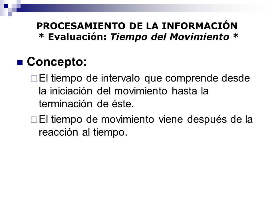PROCESAMIENTO DE LA INFORMACIÓN * Evaluación: Tiempo del Movimiento * Concepto: El tiempo de intervalo que comprende desde la iniciación del movimient