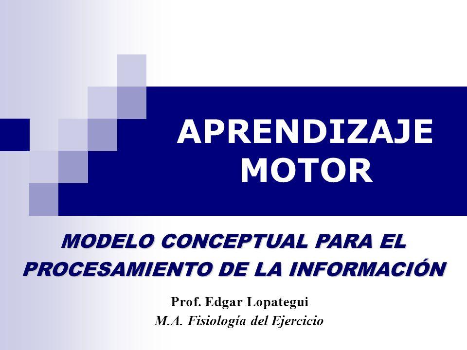 APRENDIZAJE MOTOR Prof. Edgar Lopategui M.A. Fisiología del Ejercicio MODELO CONCEPTUAL PARA EL PROCESAMIENTO DE LA INFORMACIÓN