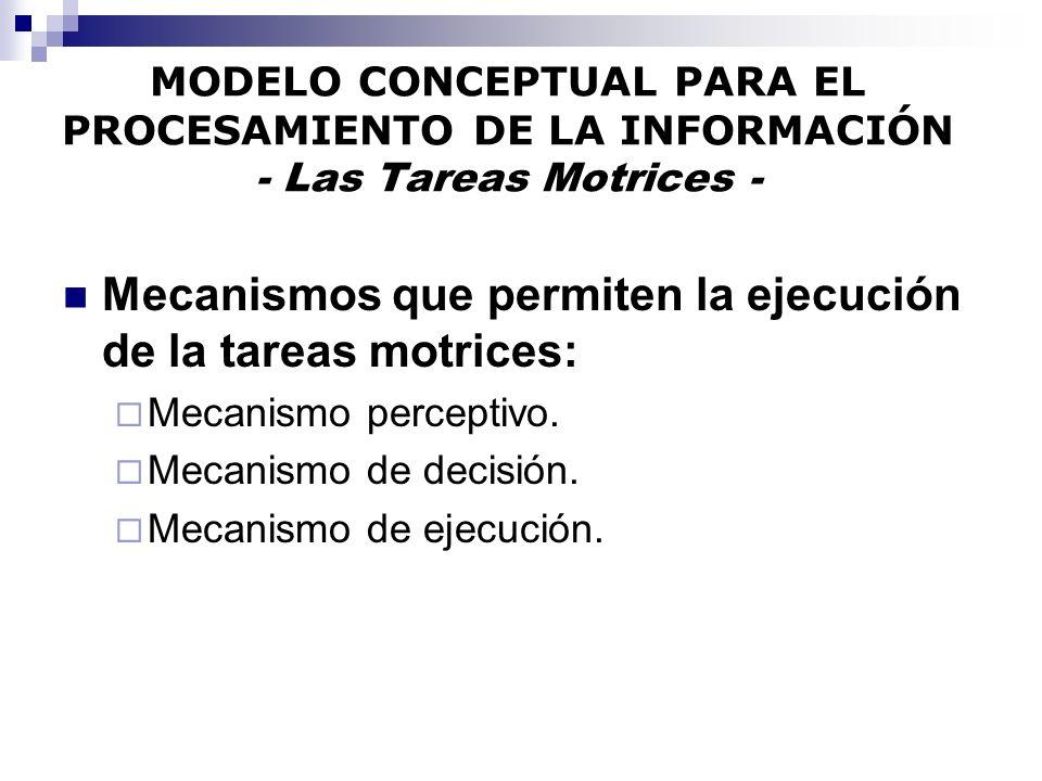 MODELO CONCEPTUAL PARA EL PROCESAMIENTO DE LA INFORMACIÓN - Las Tareas Motrices - Mecanismos que permiten la ejecución de la tareas motrices: Mecanism