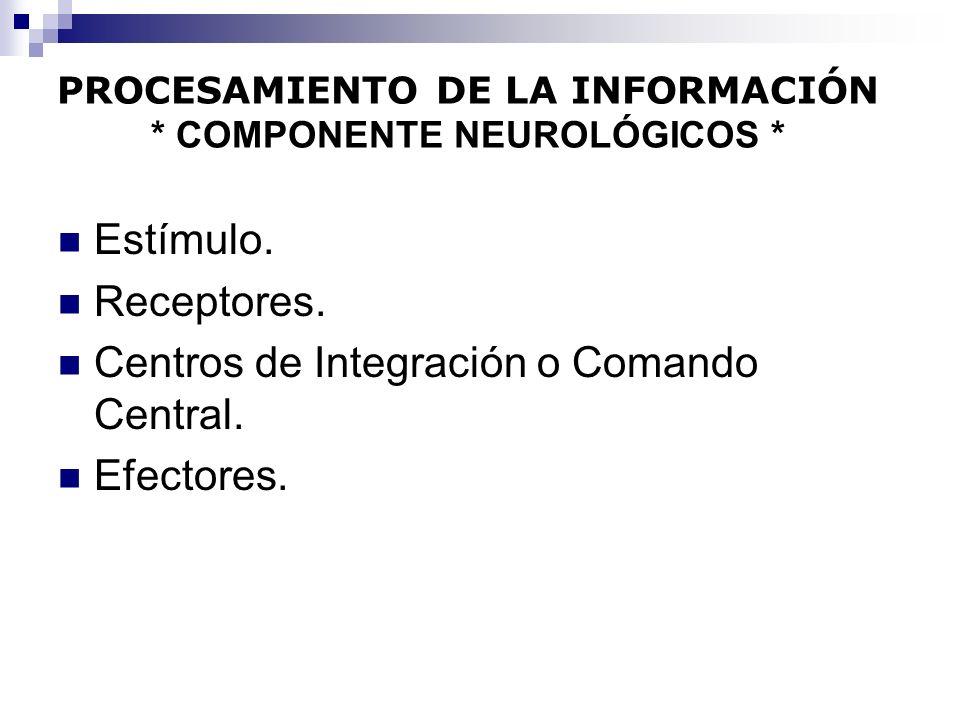 PROCESAMIENTO DE LA INFORMACIÓN * COMPONENTE NEUROLÓGICOS * Estímulo. Receptores. Centros de Integración o Comando Central. Efectores.