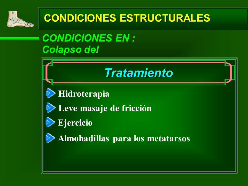 CONDICIONES ESTRUCTURALES CONDICIONES EN : Colapso del Tratamiento Hidroterapia Leve masaje de fricción Ejercicio Almohadillas para los metatarsos